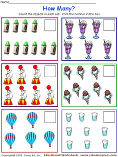 Printables Free Counting Worksheets 1-20 count and write the number of objects kindergarten math love school express they have thousands free printable worksheets