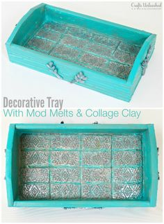 Learn how to make your own decorative tray using Mod Podge Mod Melts and collage clay. Choose your favorite colors and textures for your own custom look!