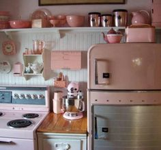 pale pink & white vintage inspired kitchen with bead board and vintage refrigerator