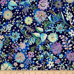 Kaufman Lumina Metallics Floral Bouquet Peacock from @fabricdotcom  Designed by Peggy Toole for Robert Kaufman, this cotton print fabric is perfect for quilting, apparel and home decor accents. Colors include shades of blue, purple and green with gold metallic accents.