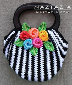 Free Pattern from OVW - Crochet Swag Bag Purse with Crochet Flowers - Crocheted by Naztazia