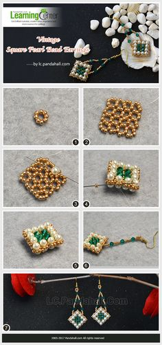Handmade beaded earrings tutorial with seed beads, bicones and pearls. How To Make Earrings, How To Make Beads, Bead Earrings, Seed Bead Jewelry, Bead Jewellery, Seed Beads, Beaded Earrings Patterns, Beaded Bracelets, Beading Patterns
