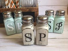 Rustic Salt and Pepper Shaker Set This Rustic Farmhouse Salt & Pepper set is so perfect and makes a great statement at your next family get together! * comes in a set of 2 as pictured (color matches font style and color shown) * glass with stainless steel caps * holds 3oz of salt &