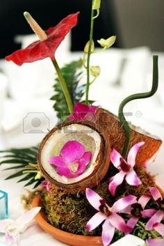 a colorful coconut centerpiece at a tropical themed party