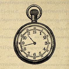 Printable Image Pocket Watch Graphic Pocketwatch Illustration Digital Download Antique Clip Art Jpg Png Eps 18x18 HQ 300dpi No.1447 @ vintageretroantique.etsy.com