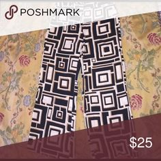 """Geometric wide leg slacks Chico's Ultimate Fit """"size 2"""" (equals 12-14). Flatters, slims, lengthen. Deco square print in black, white and gold. Front zip, clasp and button. Polyester. Chico's Pants Wide Leg"""