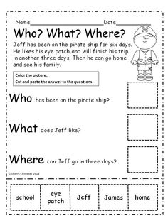Worksheets Questions For Kindergarten kindergarten reading comprehension passages with multiple choice pirates who what where cut and paste
