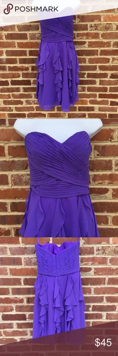 "Mori Lee Strapless Dress Bridesmaid or Prom Label Size:10 (M) Brand:Mori Lee Style:31051 Color:amethyst Fabric:chiffon  This is sample dress from a bridal boutique. It has been tried on a  few times but it has never been work outside the shop.  It is purple; the tag says amethyst.  It's perfect for a formal dress or a bridesmaid dress.30"" long; 13.5"" across waist. This doesn't include the optional waist sash. Mori Lee Dresses Wedding"