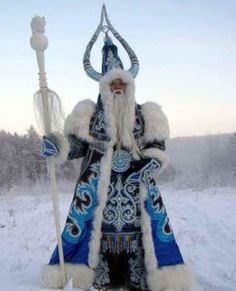 """Russian Santa Claus; This is """"Chysh Khan''(Kış Han) - The King of the Winter / Sakha (Yakut). Sakha Siberian legend Ox of Cold creates the winter by its breathing. Annually the Siberian Ded Moroz gets from hands of Chysh Khan  which begins the pre-new year journey on country. Chysh Khan is living on the Pole of Cold but also have a Yakutsk Residence - """"Permafrost Empire""""  Chysh Khan is said to be a modern incarnation of the mythical image of Sakha Bull of Winter."""