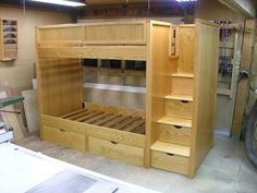 Is a very attractive layout and see the link below for building the bunk bed stairs How To Build A Bunk Bed Loft Bed Plans Bed Stairs, Bunk Beds With Stairs, Cool Bunk Beds, Kids Bunk Beds, Loft Beds, Bunk Bed Steps, Stair Plan, Bunk Bed Plans, Diy Bett