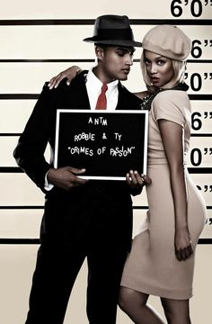 Tyra Banks and Rob Evans . America's Next Top Model, Cycle College Edition  Photo Shoot Prison Mug Shots [HQ] Bonnie Parker, Bonnie Clyde, Fashion Poses, Fashion Photo, Gangster Wedding, Harlem Nights, Fantasias Halloween, Hallowen Costume, America's Next Top Model