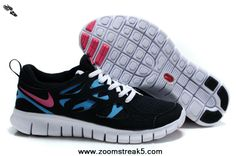 Authentic Black Bright Turquoise White Laser Pink Nike Free Run 2 477701-104 Womens