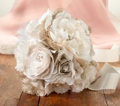 Burlap and White Flower Bouquet Country Rustic Wedding - Home Hearth Heart