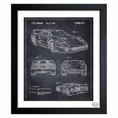 Showcasing a blueprint design, this eye-catching framed art print highlights the craftsmanship of the luxury brand car.  Product: Wall artConstruction Material: Paper and woodColor: Black frameFeatures:  Limited open edition with certificate of authenticity by the artistMade in the USAReady to hang