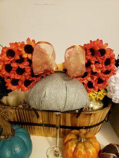 Sunflower ears  . #disneyears #mickeyears #minnieears #sunflowerears #flowerears #eartasticfinds Disney Halloween Ears, Disney Ears, Etsy Seller, Create
