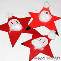 Kids Get Crafty - Nikolaus Sterne or Santa Stars - Red Ted Art - Trend Christmas Decorating Holiday 2019 Christmas Arts And Crafts, Preschool Christmas, Christmas Themes, Kids Christmas, Holiday Crafts, Christmas Cards, Father Christmas, Christmas Tree Decorations For Kids, Christmas Activities For Toddlers