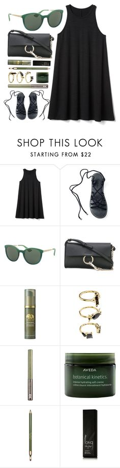 """Hands Down"" by smartbuyglasses ❤ liked on Polyvore featuring Gap, Prada, Chloé, Origins, Noir Jewelry, Urban Decay, Aveda, Clarins, Valery Joseph and black"