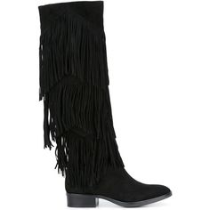 Sam Edelman fringed boots ($417) ❤ liked on Polyvore featuring shoes, boots, black, fringe shoes, kohl shoes, sam edelman, black suede fringe boots and black boots