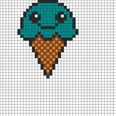 Kawaii Ice Cream Cone Fuse Bead Perler Bead Pattern | Bead Sprites | Food Fuse Bead Patterns
