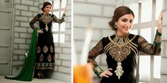 Indian Bollywood Designer Black Coloured anarkali by Lootvila, $79.99