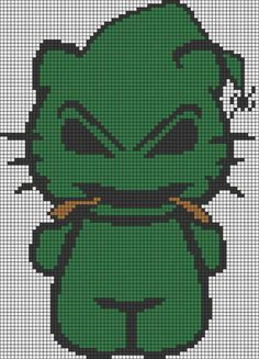 Oogie Boogie Hello Kitty Perler Bead Pattern and like OMG! get some yourself some pawtastic adorable cat shirts, cat socks, and other cat apparel by tapping the pin! Cute Cross Stitch, Beaded Cross Stitch, Cross Stitch Charts, Perler Bead Art, Perler Beads, Fuse Beads, Hello Kitty, Disney Cross Stitch Patterns, Hama Beads Design