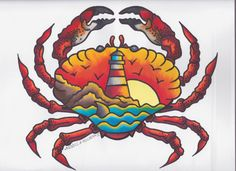 Traditional Tattoo-Inspired Crab Copic Marker Print