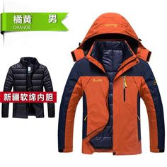 fe812228aaf PEILOW Winter jacket men fashion 2 in 1 outwear thicken warm parka coat  women`s Patchwork waterproof hood men jacket size M~6XL. Mens Outdoor ...
