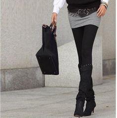 short skirt, leggings, boots