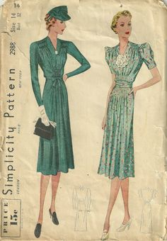 Simplicity 2988 1930s Misses V Neck   Dress  Sewing Pattern by mbchills