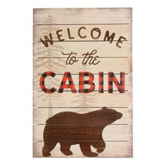 watercolor bear lodge wooden cabin decor wall sign log home decorations hunting
