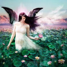 Items similar to Fairy tale Angel Art Print, Lake Goddess Blue Green Pink Fantasy Portrait 'Lotus Faerie' Pink Flower Fae with Dark Hair and Swan Wings on Etsy Fantasy Illustration, Digital Illustration, Swan Wings, Skyline Painting, Devian Art, Legends And Myths, Fantasy Portraits, Fairytale Art, Angel Art