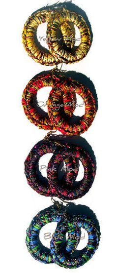 Modish Crochet Hoop Earrings by LionessXpressions on Etsy, $12.00