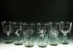 Game of Thrones - House - Etched Pint Glasses - Set of 6