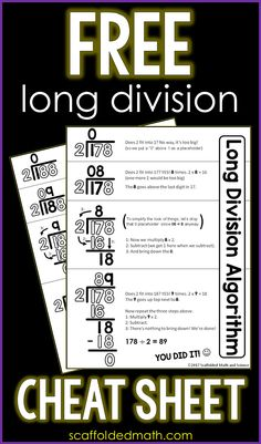 This long division reference sheet can help students with the steps of the long division algorithm. The free printable pdf can be enlarged into an anchor chart or slipped into a student math notebook. Teaching Division, Teaching 6th Grade, 5th Grade Math, Teaching Math, Math Class, Math Reference Sheet, Math Cheat Sheet, Cheat Sheets, Division Anchor Chart