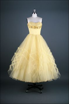 Tulle dress, c.1950s. I have a very similar dress, which was worn by my aunt to her senior prom in 1956.