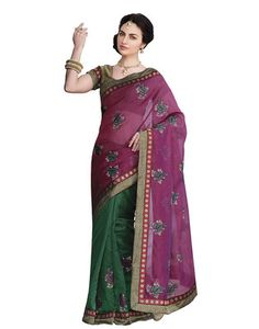 Sati Pink Green Coloured Chanderi Saree Chanderi Sarees on Shimply.com