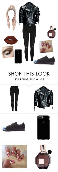 """""""All Black Baddie"""" by analinagalaviz ❤ liked on Polyvore featuring River Island, Leka, adidas, Viktor & Rolf and Lime Crime"""