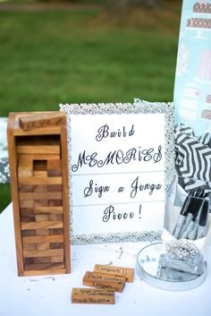 Giant jenga wedding guest book