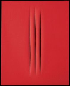 "Lucio Fontana (1899-1968), Concetto spaziale, Attese; signed, titled and inscribed 'l. Fontana ""Concetto Spaziale"" ATTESE Nel 1906 quando arrivai a Milano c'erani i tram a cavalli' (on the reverse); waterpaint on canvas; 36 ¾ x 28 7/8in. (93.2 x 73.5cm). Executed in 1967"