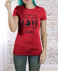 Live Laugh Love Cats Ladies Fit T-shirt