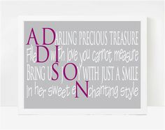 First Birthday Poems Personalized Baby Gifts By LarkRoadRhymes 2000 Addison Avery Lee