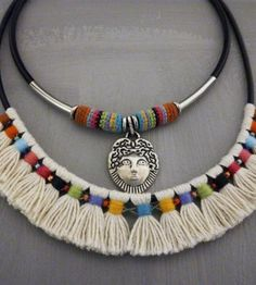 This is a handmade colorful tribal statement necklace in aboriginal indian style made out of black genuine leather round cord, natural off white unbleached cotton yarn, color threads, seed beads, s… Textile Jewelry, Fabric Jewelry, Boho Jewelry, Jewelry Crafts, Jewelery, Jewelry Ideas, Handmade Beaded Jewelry, Handmade Jewelry Designs, Custom Jewelry