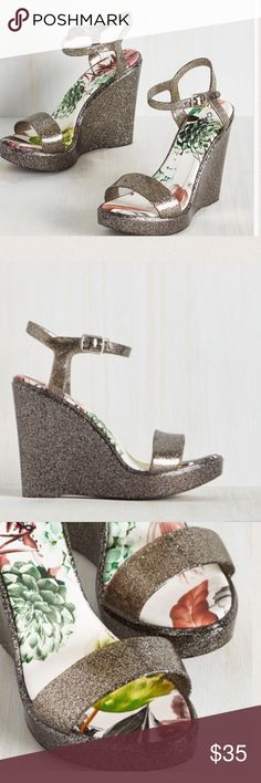 Glam wedge sandals These heels boast a scrappy silhouette and a floral printed sole. These glittery wedges will soon become the talk of the town. ModCloth Shoes Wedges