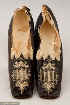 1800s shoes - dark brown w/decorative cutwork vamps, cream silk satin w/cream chain stitch embroidery, and ruched cream ribbon on sawtooth edge on instep, broad square toes, leather soles. I'd love a pair for today!