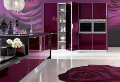 Pink Kitchen furniture with elegant design Beautiful Pink Kitchen Design with modern furniture. Pink Kitchen Design Ideas for girl are alway. Tapis Design, Küchen Design, Home Design, Design Ideas, Deco Design, Purple Kitchen, Kitchen Colors, Kitchen Decor, Kitchen Ideas