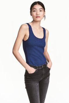 Lace-trimmed cotton vest top - Dark blue marl - Ladies   H&M CA 1