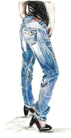 'Modezeichnung Jeans' von Birgit Schlegel
