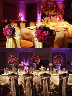Pink And Purple Arrangements Details On Banquet Style Wedding Reception Head Table Tables D