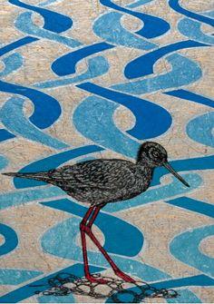 Jo Ogier, Black Stilt (Kaki) on Braided River, Woodcut on Harakeke Paper (680 x 480), from an edition of 20. NZ$600 incl GST.