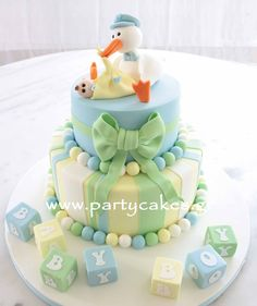 Baby Shower Cake Stork Cake for a baby shower Torta Baby Shower, Baby Shower Fun, Fun Baby, Cute Cakes, Pretty Cakes, Beautiful Cakes, Amazing Cakes, Baby Cakes, Cupcake Cakes